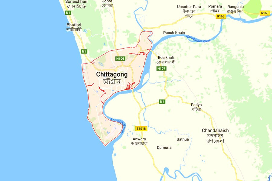 Google map showing Chittagong division