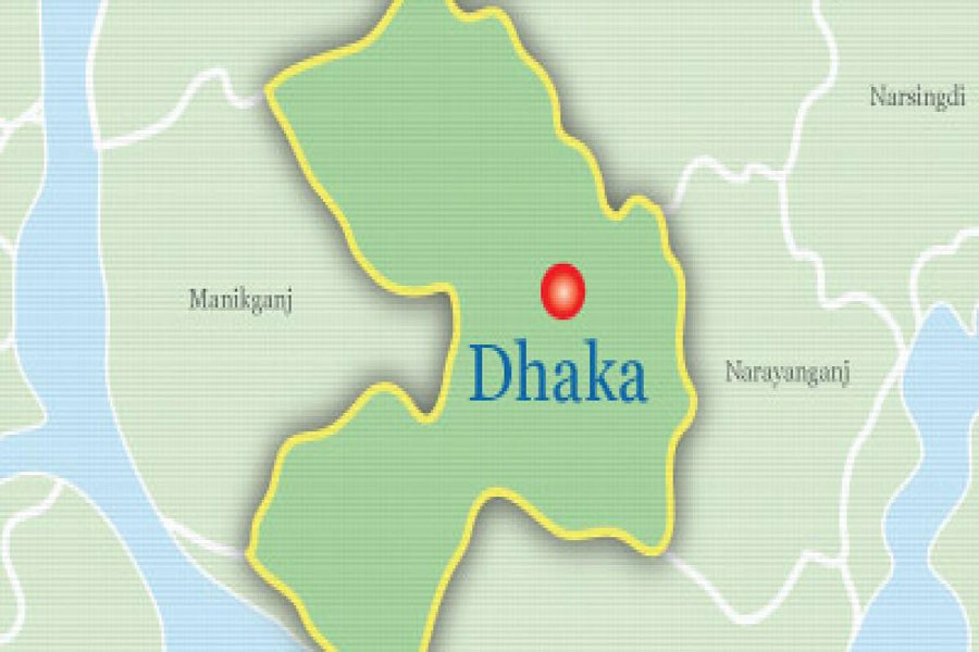 Google map showing Dhaka district