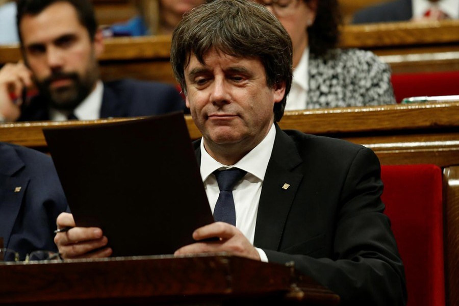 Puigdemont declared independence after the 1 October vote. But he immediately suspended implementation, calling for talks. - Reuters file photo
