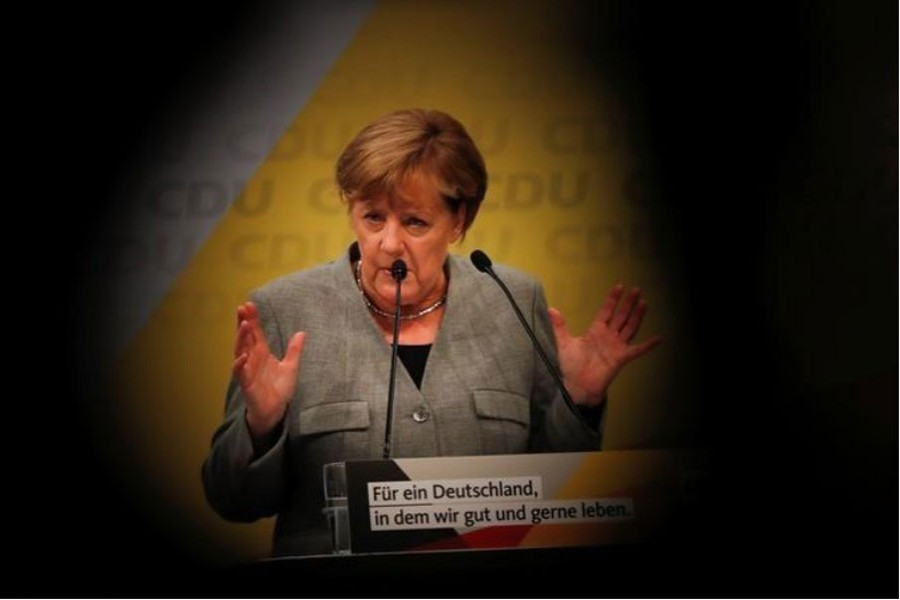 In this file photo, German Chancellor and leader of the conservative Christian Democratic Union (CDU) Angela Merkel speaks at the start of the CDU's election rally for Germany's general election in Dortmund, Germany.  – Reuters photo