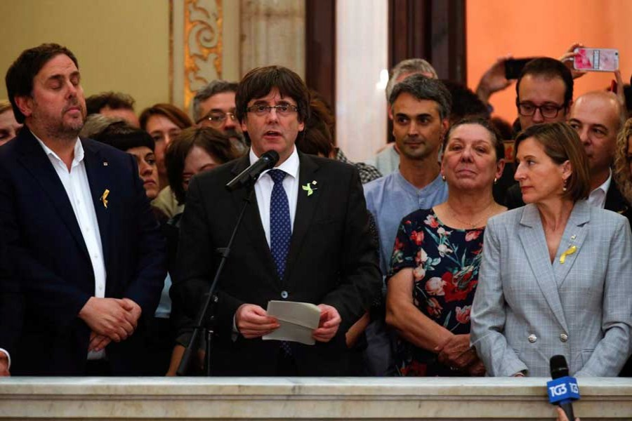 Catalan President Carles Puigdemont speaks during a ceremony after the Catalan regional Parliament declared independence from Spain in Barcelona, Spain, October 27, 2017.  - Reuters photo
