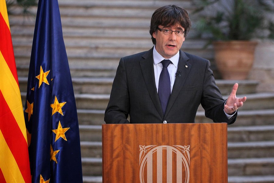 """Puigdemont is urging """"democratic opposition"""" to direct rule from Madrid. - Reuters photo"""