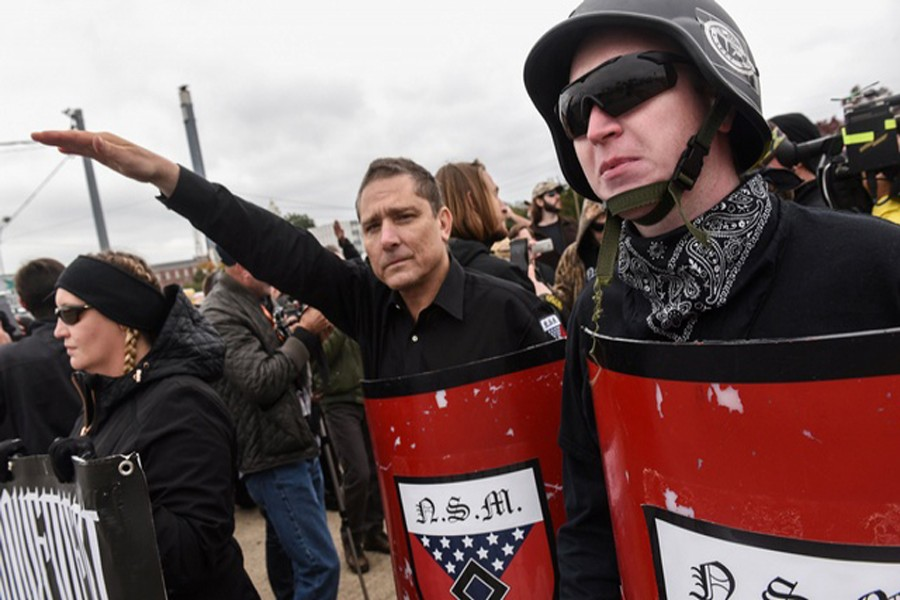 SHELBYVILLE: White nationalists and neo-Nazis participate in a 'White Lives Matter' rally in Shelbyville on Saturday.— Reuters