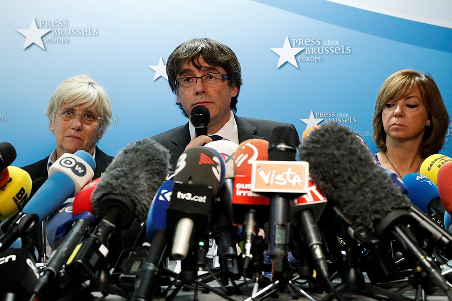 Sacked Catalan leader Carles Puigdemont attends a news conference at the Press Club Brussels Europe in Brussels, Belgium on Tuesday. - Reuters photo
