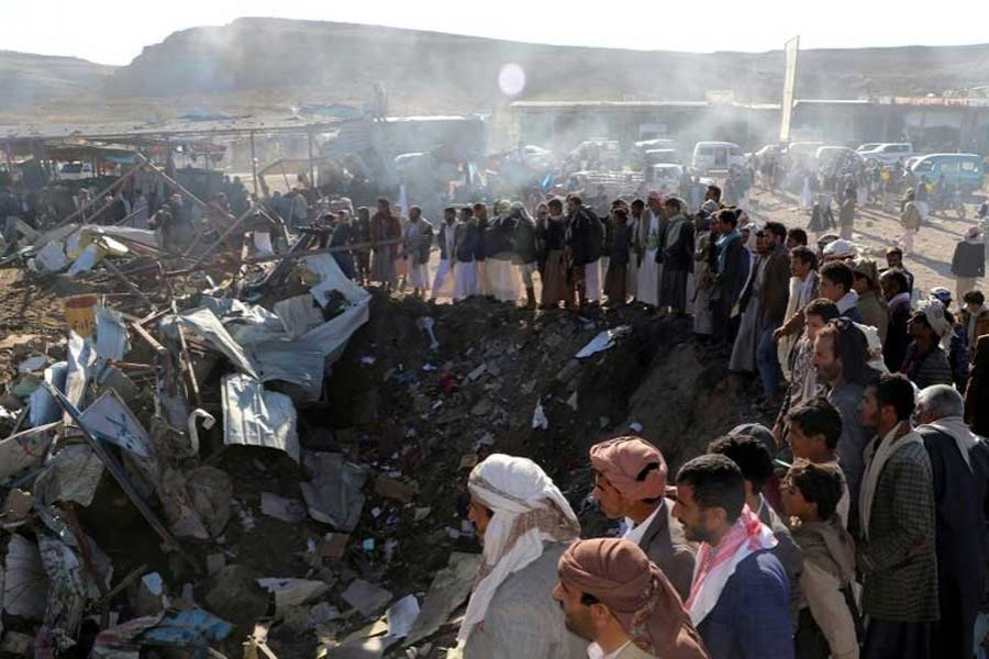 People gather at the site of an air strike in the northwestern city of Saada, Yemen November 1, 2017.  - Reuters photo