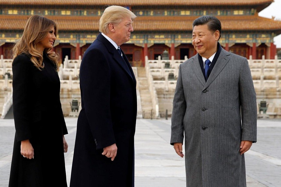 US President Donald Trump and US first lady Melania visit the Forbidden City with China's President Xi Jinping in Beijing, China, November 8, 2017. Reuters