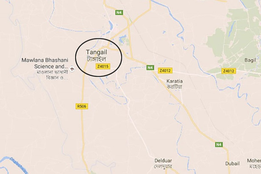 Map showing Tangail district.