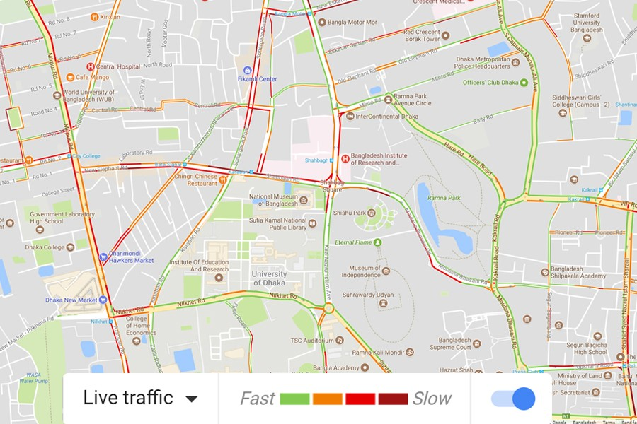 Real time traffic updates from Google now in Dhaka Dhaka Map on
