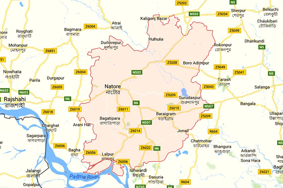 Google map showing Natore district