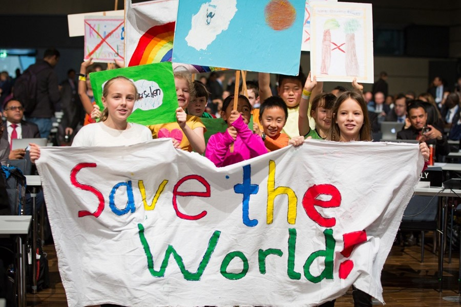 Children demand climate action at the opening of COP23 in Bonn.