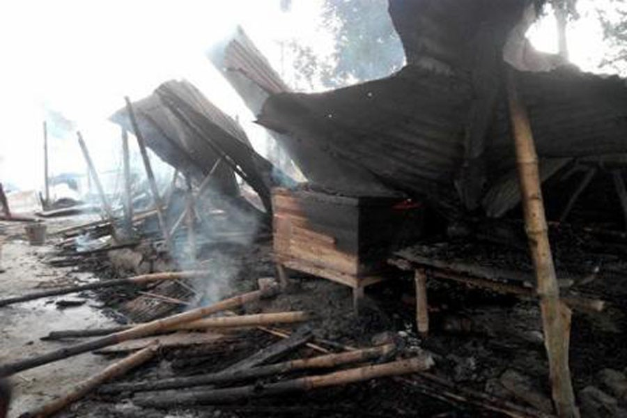A Hindu-dominated village and vandalised and torched 8-10 houses of the Hindus on November 10. Photo: Collected