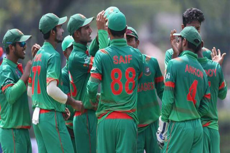 Bangladesh cricketers celebrate after beating India at the ACC Youth Asia Cup Cricket 2017 at the Royal Selangor Club ground in Kuala Lumpur on Tuesday. — ACC website