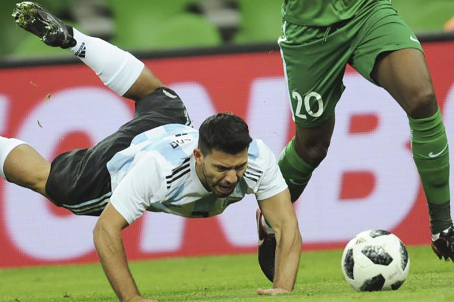 Sergio Aguero scored for Argentina before he was taken to hospital at hal-time. - AP photo