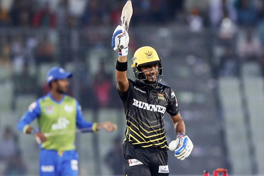 Rajshahi Kings' Zakir Hasan celebrates after scoring half century during the match between Rajshahi Kings and Sylhet Sixers in the 5th BPL T20 at the Sher-e-Bangla National Cricket Stadium at Mirpur in the city on Friday.— bdnews24.com