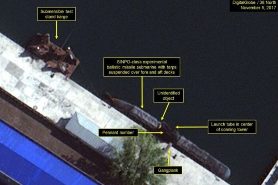 Satellite images appear to show evidence of a submarine-launched missile programme. - BBC