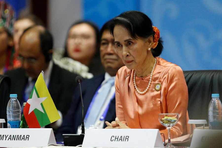 Myanmar State Counselor Aung San Suu Kyi attends the 13th Asia Europe Foreign Ministers Meeting (ASEM) in Naypyitaw, Myanmar on Monday. - Reuters photo