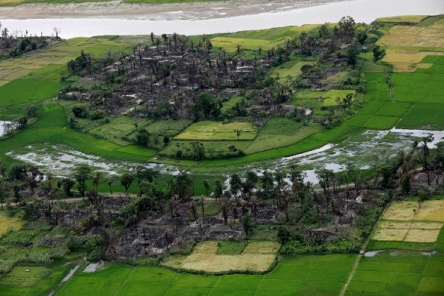 Aerial view of a burned Rohingya village near Maungdaw, north of Rakhine state, Myanmar September 27, 2017.  - Reuters