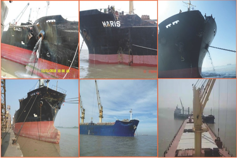 Recent accidents in the Chittagong Port channel and anchorage area.