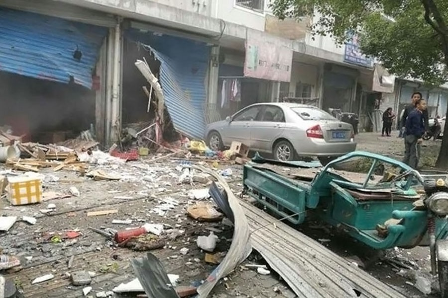 The blast happened at around 9 am in Jiangbei district in Ningbo City, causing some buildings to collapse. (Twitter Photo)