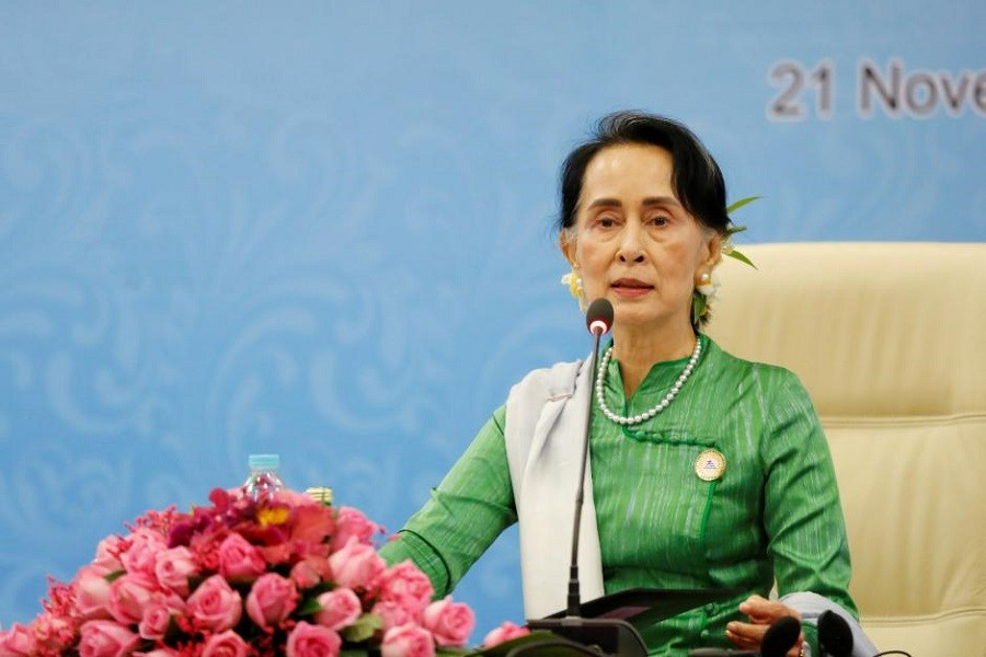 Myanmar State Counselor Aung San Suu Kyi speaks during a news conference at the Asia Europe Foreign Ministers (ASEM) in Naypyitaw, Myanmar, November 21, 2017. Reuters