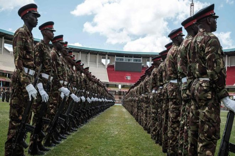 Troops rehearsed for the inauguration ceremony at the Moi International Sports Centre: Photo Collected