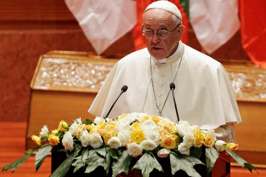 Pope Francis makes a speech during a meeting with members of the civil society and diplomatic corps in Naypyitaw, Myanmar November 28, 2017. - Reuters