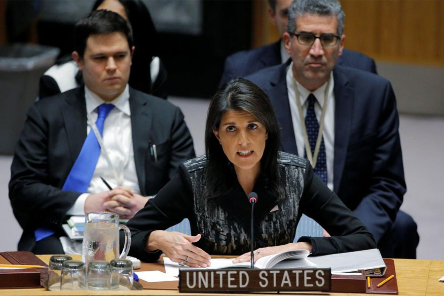US Ambassador to the UN Nikki Haley speaks during a meeting of the UN Security Council at the UN headquarters in New York, US (Reuters Photo)