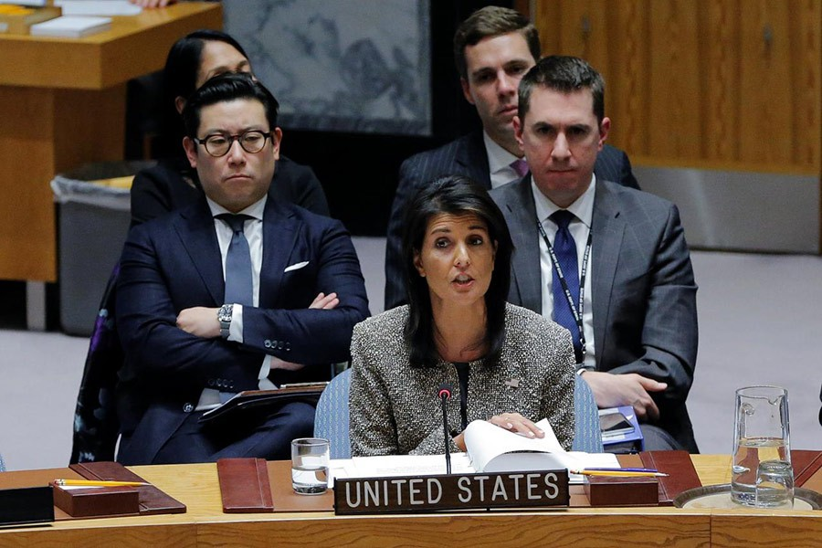 United States ambassador to the United Nations (UN) Nikki Haley speaks during a meeting of the UN Security Council to discuss a North Korean missile launch at UN headquarters in New York, US on Wednesday. - Reuters