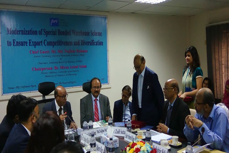 Private think-tank Policy Research Institute (PRI) organised the roundtable on 'Modernization of Special Bonded Warehouse Scheme to Ensure Export Competitiveness and Diversification' at its office in the city. - Courtesy: PRI