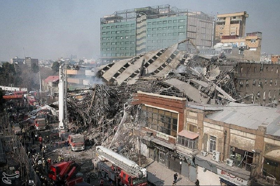 Representational image: A collapsed building is seen in Tehran, Iran. Tasnim News Agency/Handout via Reuters/File Photo