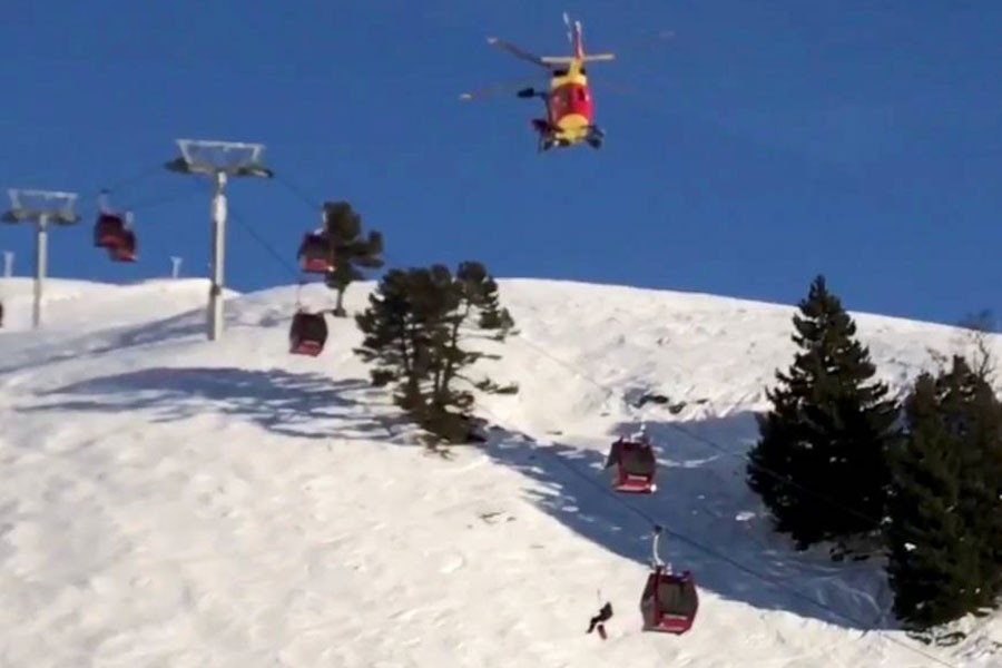 Rescue operations were underway Sunday for people stuck on ski lifts in Chamrousse, France. The still image is taken from a social media video. (REUTERS)