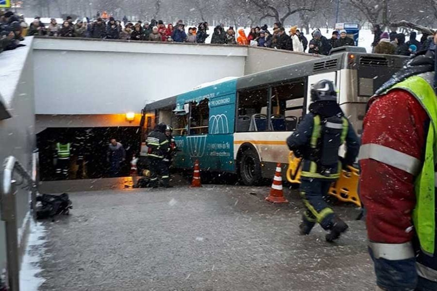 Bus plunges into pedestrians in Moscow, kills five