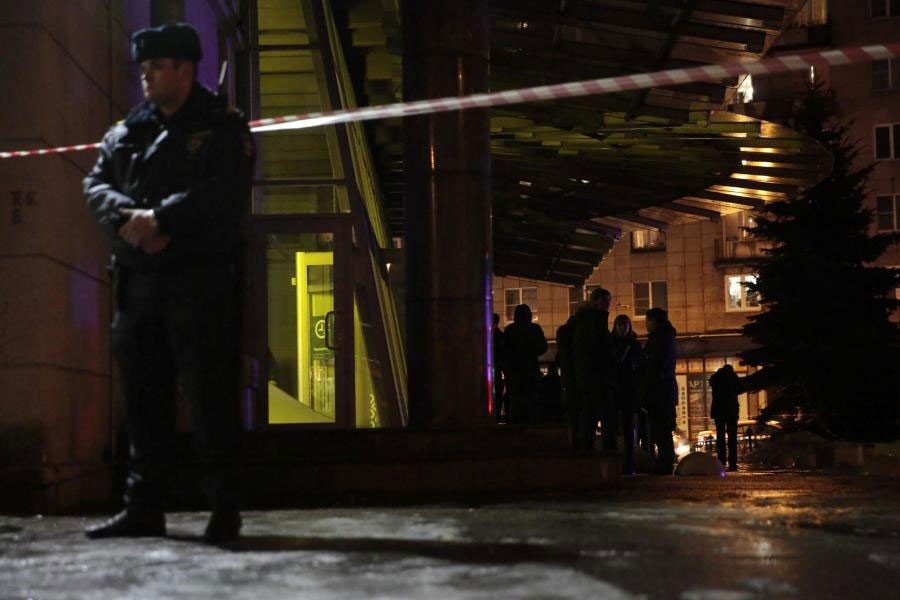 A policeman stands guard after the explosion in St Petersburg (REUTERS)