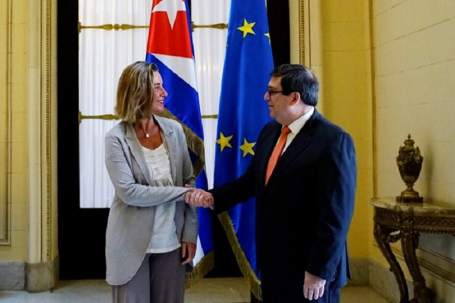 EU foreign policy chief Federica Mogherini shakes hands with Cuba's Foreign Minister Bruno Rodriguez in Havana, Cuba, January 4, 2018. Reuters