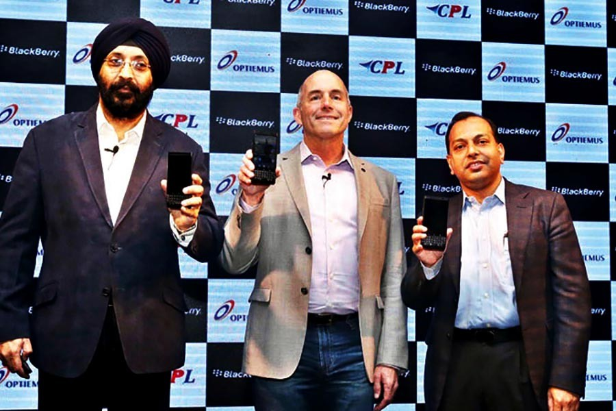 BlackBerry KEYone Limited Edition Black launching ceremony at a hotel in Dhaka on Thursday.