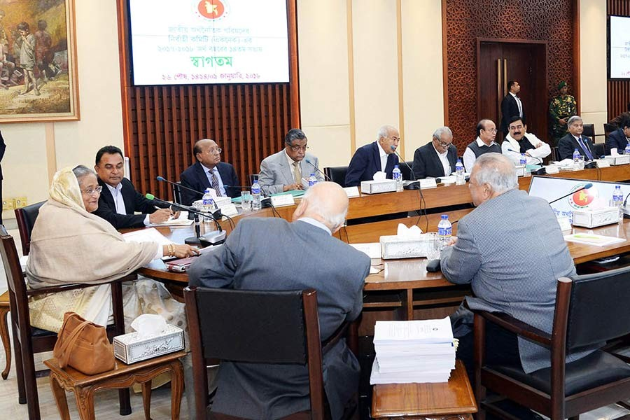 Prime Minister Sheikh Hasina presides over ECNEC meeting on Tuesday in Dhaka. -Focus Bangla Photo