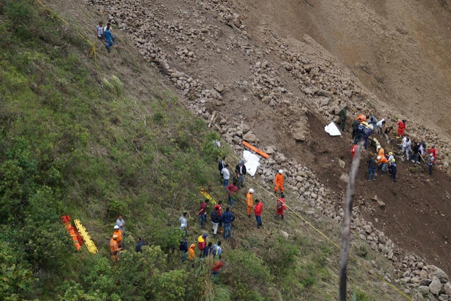 Search and rescue operations underway at site of a landslide in Narino, Colombia on Sunday. - Reuters photo