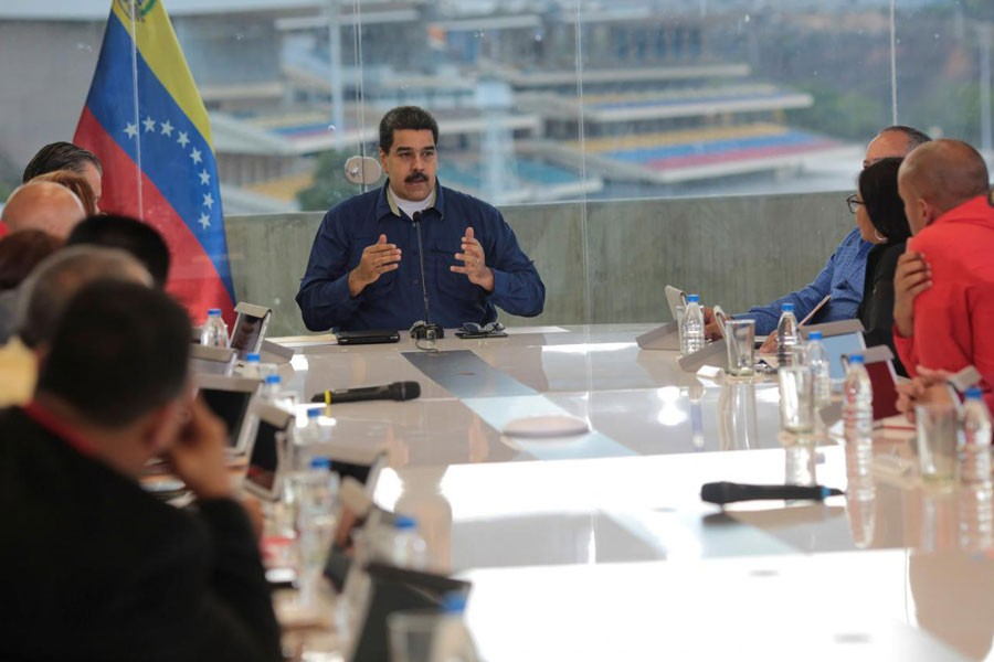 Venezuela's President Nicolas Maduro attends a meeting with the Political High Command of the Revolution and General Staff of the Venezuela's United Socialist Party (PSUV) in Caracas, Venezuela January 27, 2018. (REUTERS)