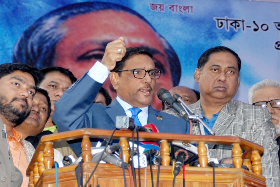 Awami League General Secretary Obaidul Quader speaking at the inaugural function of member collection and membership renewal programme of Awami League at the Bangabandhu Bhaban at Dhanmondi in the city on Monday.  	— Focus Bangla