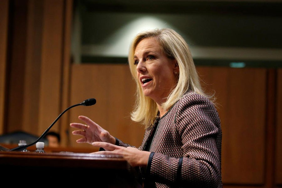 """US Secretary of Homeland Security Kirstjen Nielsen testifies to the Senate Judiciary Committee on """"Oversight of the US Department of Homeland Security"""" on Capitol Hill in Washington, US, January 16, 2018. (REUTERS)"""