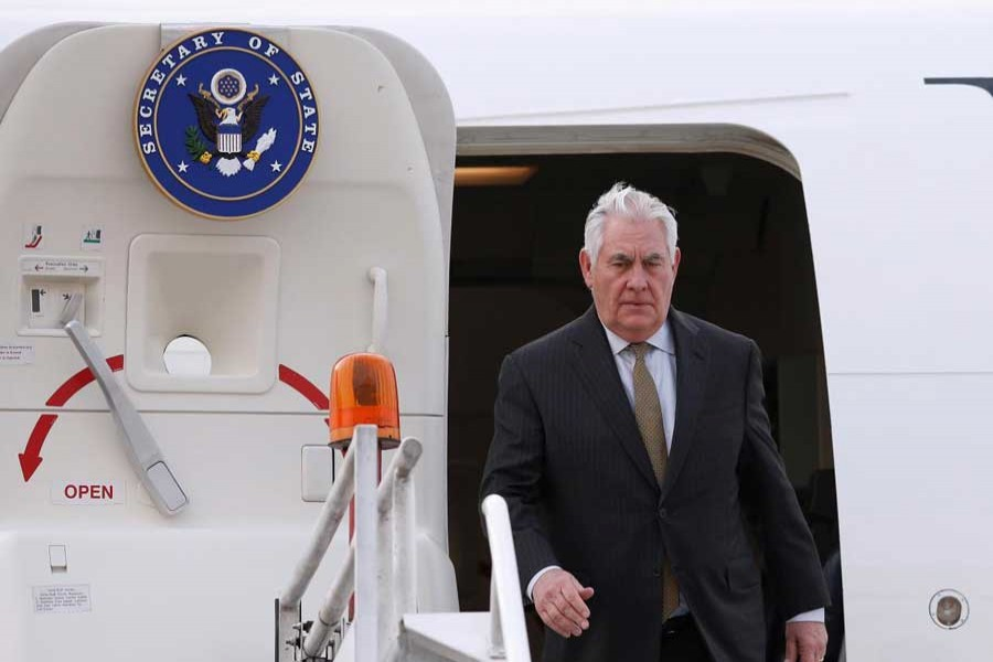 US Secretary of State Rex Tillerson steps off his plane as he arrives to the presidential hangar in Mexico City, Mexico February 1, 2018. Reuters