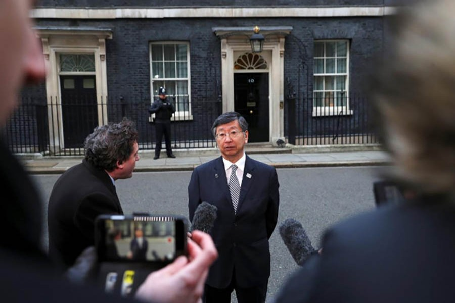 Koji Tsuruoaka speaks outside 10 Downing Street after a meeting between Britain's Prime Minister Theresa May and senior members of Japanese companies, in London, February 8, 2018. (Reuters).