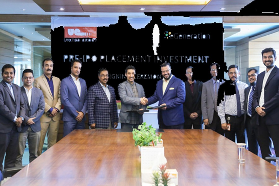 Moinuddin Hasan Rashid, Managing Director of United Group, and Shameem Ahsan, Chairman of eGeneration Group, exchanging documents after signing an agreement at United Group head office in the city recently.