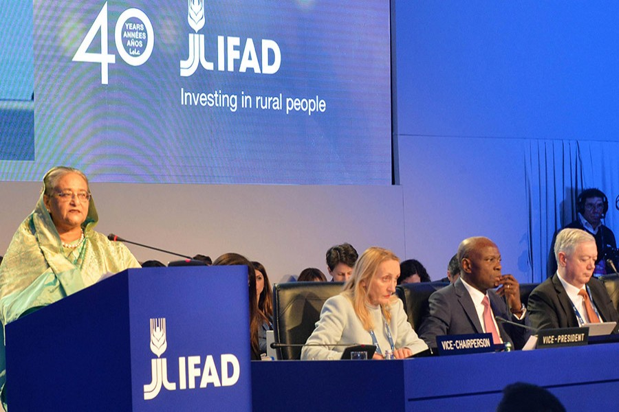 PM Sheikh Hasina speaks at the 41st session of the Governing Council of the International Fund for Agricultural Development (IFAD) in Rome on Tuesday. PID Photo