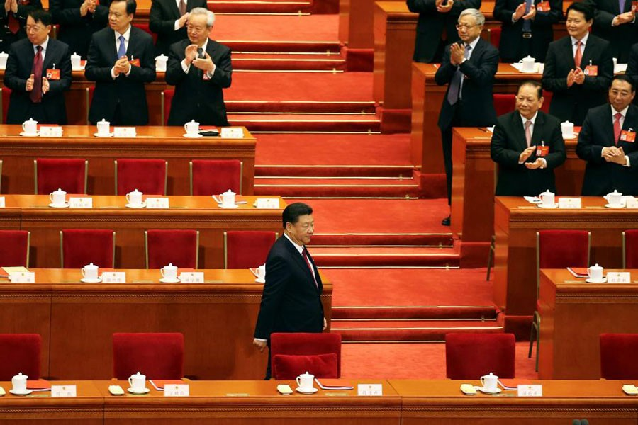 China's President Xi Jinping arrives for the closing session of China's National People's Congress (NPC) at the Great Hall of the People in Beijing, China October 18, 2017. (REUTERS)