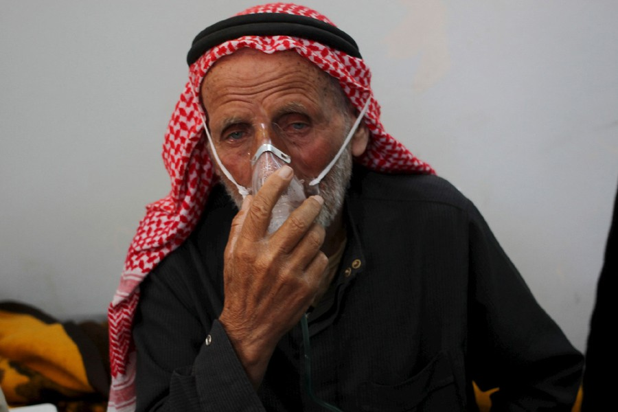The aftermath of a chlorine gas attack on Kansafra village, Syria, in May, 2015. Reuters/File Photo