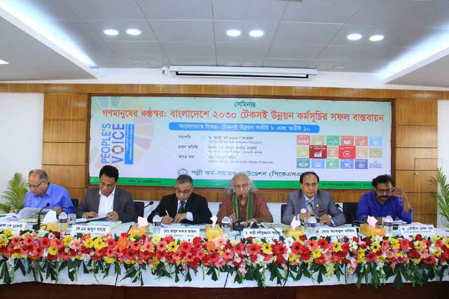 President of PKSF Dr Qazi Kholiquzzaman addressing a seminar titled 'People's Voice: Strengthening SDGs Implementation in Bangladesh' in the city on Wednesday.