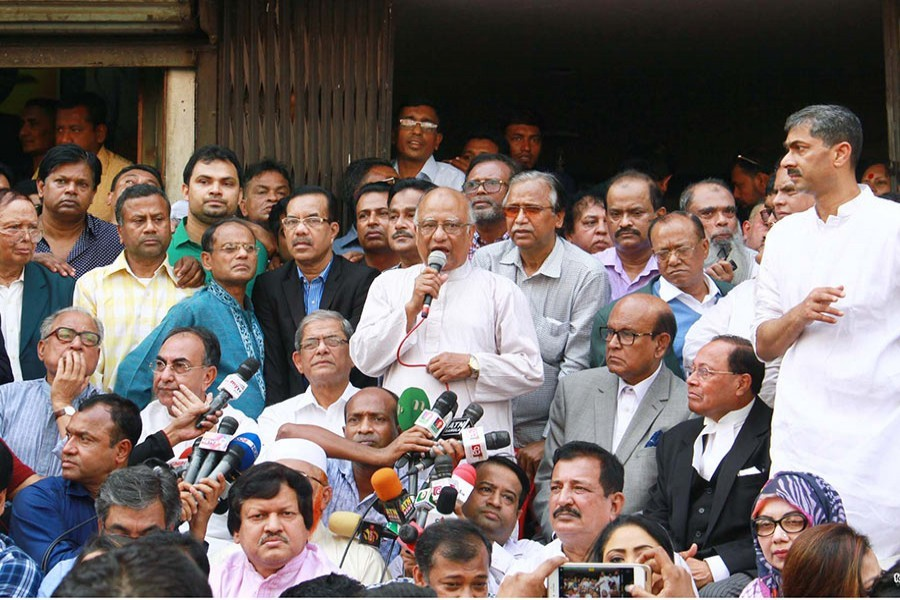 BNP's Khandaker Mosharraf Hossain speaks at a sit-in programme recently. - Focus Bangla file photo used for representation.