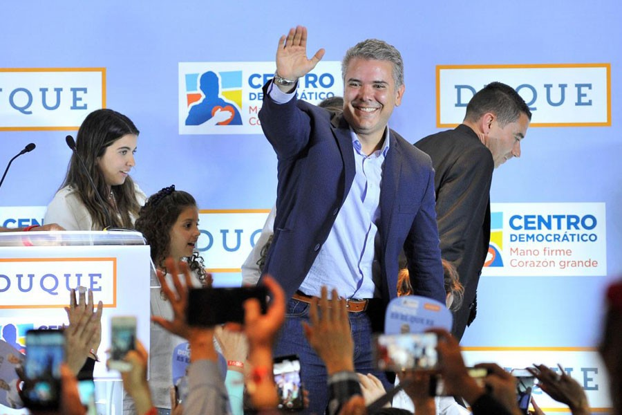 Ivan Duque, presidential candidate of the Centro Democratico party gives a speech after knowing the results of the legislative elections in Bogota, Colombia March 11, 2018. Reuters.