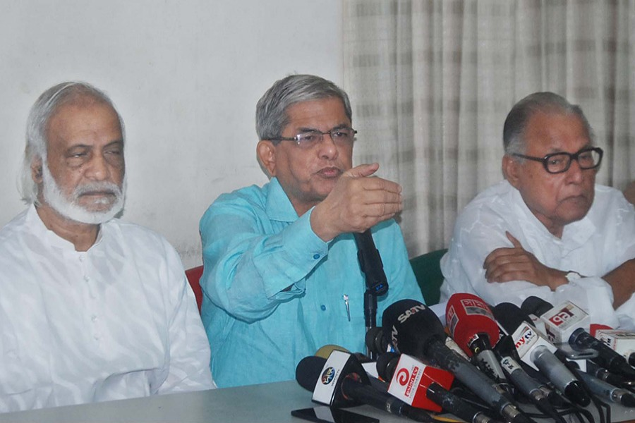 BNP secretary general Mirza Fakhrul (C) speaks at a press conference at party's Nayapaltan central office on Monday. - Focus Bangla photo